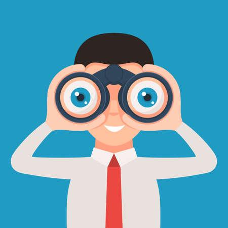 Man with binoculars 向量圖像