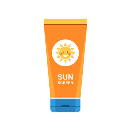 Sunscreen cream in tube symbol. Protection for the skin from solar ultraviolet light. Flat icon. Vector illustration isolated on white background Stok Fotoğraf - 81879165