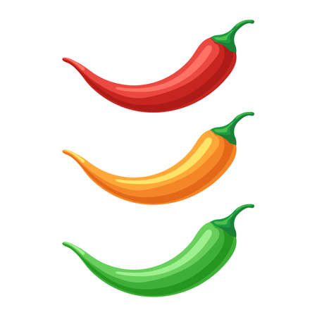 Hot chilli peppers set. Red, yellow and green. Vector illustration in cartoon style design isolated on white Illustration