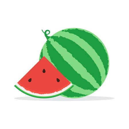 Whole watermelon and slice of watermelon icon. Vector illustration in flat design isolated on white