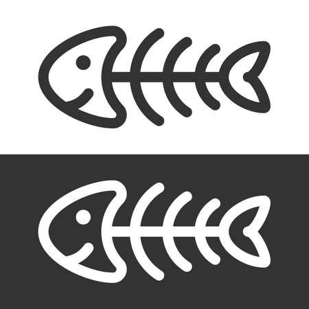 Funny fish skeleton icon vector illustration.