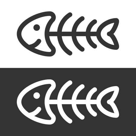 dead fish: Funny fish skeleton icon vector illustration. Illustration