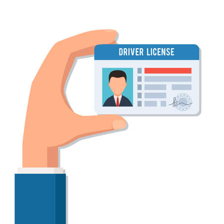 Hand holds a driver license on white background, vector illustration.