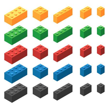 Isometric plastic building blocks on white background, vector illustration.