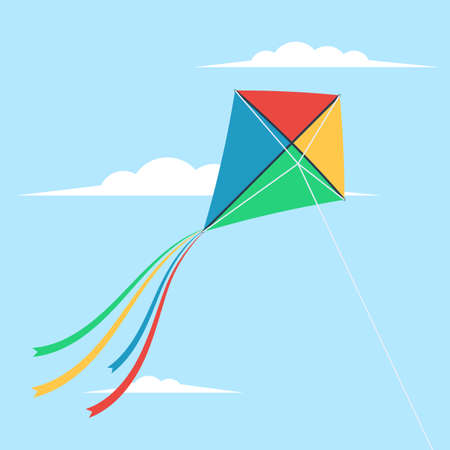 Kite flying in the sky on blue background, vector illustration. Illustration