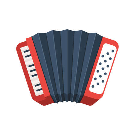 Red accordion icon vector illustration.