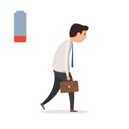 Sad tired businessman on white background, vector illustration.