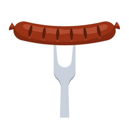 banger: Sausage impaled on a fork on white background, vector illustration.