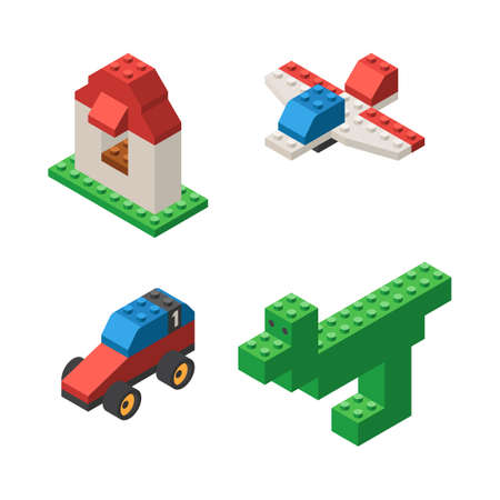 Toys built from childrens designer, plastic blocks: dinosaur, house, airplane and car. Isometric vector illustration isolated on white background Illustration