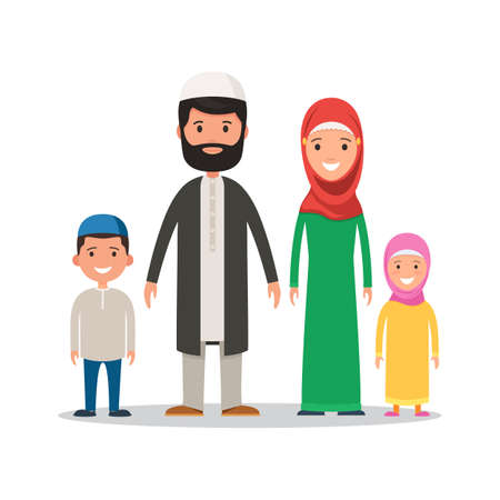 Traditional Muslim family in national dress. Parents with children, mother, father, son, and daughter. Vector illustration in the cardboard style isolated on white background Stock Illustratie