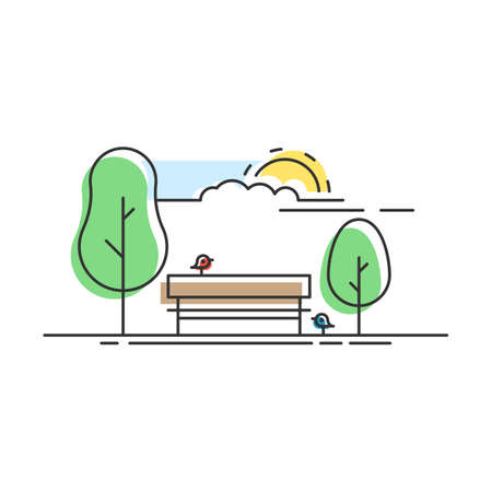 City Park with a bench and birds. Icon Central Park. Vector illustration in trendy flat linear style with color shapes isolated on white background