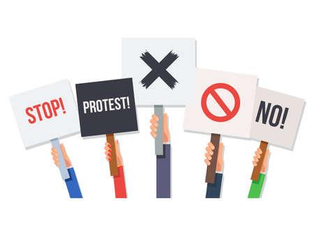 Hände, die Protestplakate halten. Nein und zu stoppen, zu kreuzen, zu verbieten, zu protestieren. Konzept Revolution und Demonstration. Vector Illustration im flachen Stil isoliert auf weißem Hintergrund für Mi Banner oder Poster