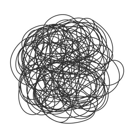 추상 낙서, 혼란 낙서 패턴. 손으로 그린 scrawl 스케치입니다. 벡터 일러스트 레이 션 흰색 배경에 절연
