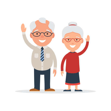 Elderly couple waving a greeting. Grandparents day concept. Vector illustration in the cardboard style isolated on white background