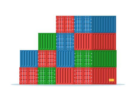 貨物コンテナーのスタック: 赤、青、緑。海上輸送用コンテナー、ポート。白い背景に分離されたトレンディなフラット スタイルのベクトル図