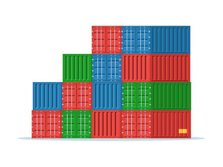 Stack of cargo containers: red, blue and green. Port containers for Maritime transport. Vector illustration in trendy flat style isolated on white background