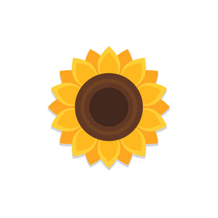 Sunflower icon with shadow. Vector Illustration in flat style isolated on white background
