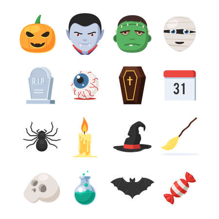Halloween symbols collection. 31 October holiday icons set in cartoon style. Vector illustration isolated on white background Illustration