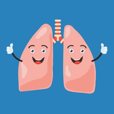 Lustige glückliche Lungenzeichen zeigen Handdaumen. Nettes menschliches inneres Organzeichen. Vektor-Illustration im Cartoon-Stil