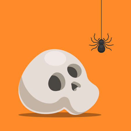 Skull and spider down the web. Halloween background. Vector cartoon illustration in flat style for a flyer, poster, invitation card to the party