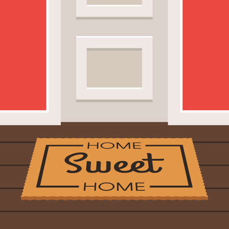 Home sweet home design doormat. Illustration