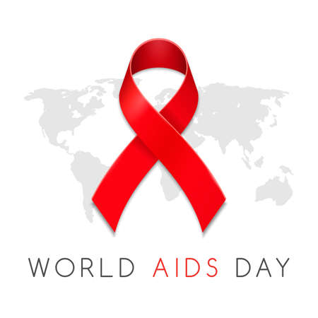 Aids awareness red ribbon with map