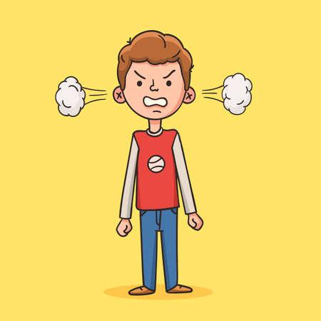 Niño enojado en estilo de dibujos animados