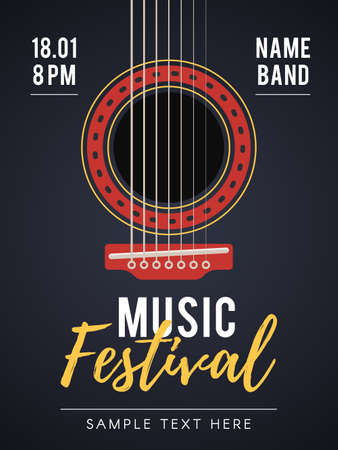 The acoustic music festival. A live music concert. Vector illustration for web design banner, poster, invitation flyer and other promotional materials Çizim