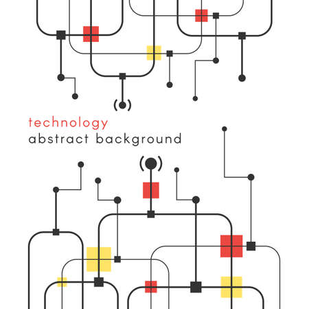 Abstract technology background. Connection structure concept. Geometric element, line and dots. Vector illustration