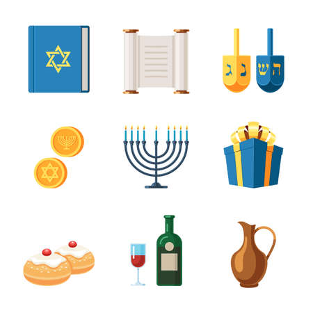 Set of icons for the Hanukkah holiday. Happy Chanukah, Festival of Lights, Feast of Dedication. Jewish Menorah with candles. Religious holiday. Vector illustration isolated on white background Çizim