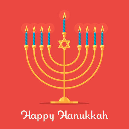 Happy Hanukkah, Jewish Menorah with candles. Religious holiday Vector illustration. Çizim
