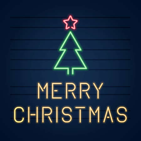 Neon sign merry Christmas tree with star vector illustration.