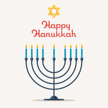 Happy Chanukah. Festival of Lights, Feast of Dedication. Jewish Menorah with candles. Religious holiday. Vector illustration, template for design web banner, poster or greeting cards