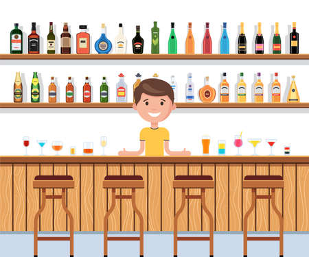 Barman is at the bar counter with cocktails and drinks. Shelves with different bottles alcohol drinks. The interior of the pub, bar or restaurant. Vector illustration in carton style