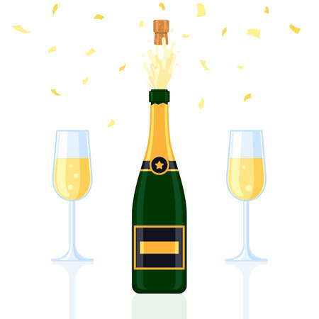 Champagne bottle explosion with glasses and gold confetti. The concept of a holiday. Vector illustration isolated on white background for the design of a festive web banner, poster or greeting card