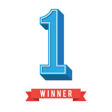 1st symbol with red winner ribbon. Vector illustration in trendy flat style for poster, web banner or greeting card