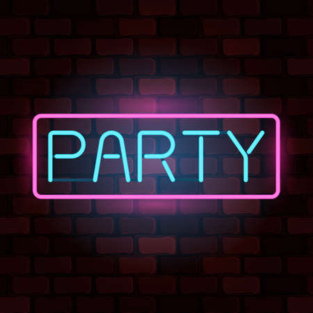 Luminous neon sign party against a brick wall. Vector illustration for web banner, poster, invitation or greeting card Çizim