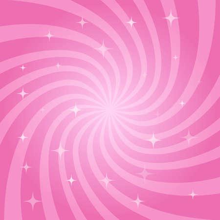 Abstracte magische roze achtergrond. Wervelend radiaal patroon met sterren. Vector illustratie