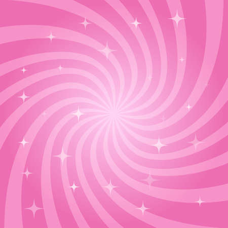 Abstract magic pink background. Swirling radial pattern with stars. Vector illustration Illustration