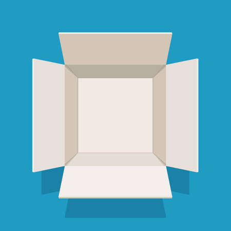 Open empty cardboard box, top view. Vector illustration in flat style with shadow on blue background