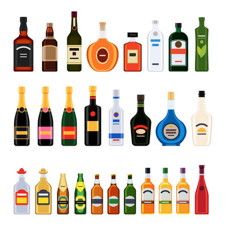 Big set of different bottles of alcohol drinks. Vector illustration in flat design style isolated on white background