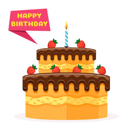 Happy birthday banner. Birthday Cake with strawberries and a candle. Vector illustration in trendy flat style isolated on white background for web design banner, poster, or greeting card
