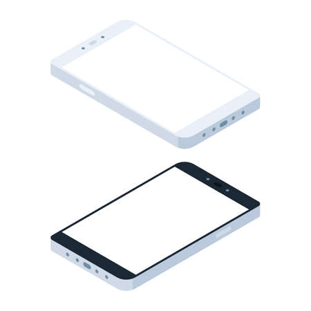 Mobile phone with empty screen. Vector illustration in isometric view isolated on white background