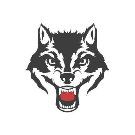 Wolf grin head symbol. Vector illustration isolated on white background