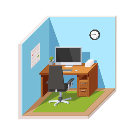 Workplace Manager or a freelancer. Office chair and Desk with a computer and a stack of papers. 3d Vector illustration in low poly style