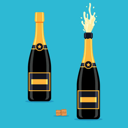 Open and closed champagne bottles. The concept of a holiday. Vector illustration in vector style isolated on blue background for the design of a festive web banner, poster or greeting card
