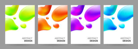 Covers design set with fluid gradient shapes. Abstract trendy background. Vector illustration template for the cover of brochures, web banners, flyers or posters
