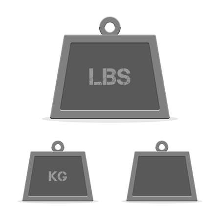 Weight icons, kilograms, pounds and empty. Vector illustration in modern flat style isolated on white background