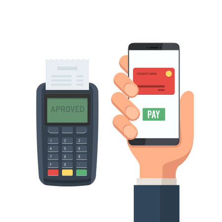 POS terminal mobile payment. Hand holding smartphone with pay app. Flat vector icon.. Vector illustration in flat style design, isolated on white background Stok Fotoğraf - 103171399