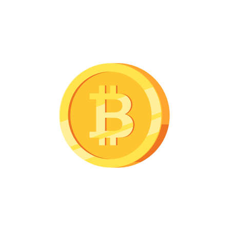 Crypto currency golden coin, digital money, bitcoin symbol. Vector illustration isolated on white background Stok Fotoğraf